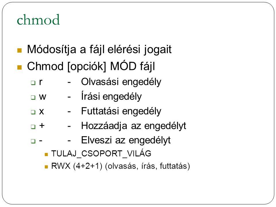 chmod Módosítja a fájl elérési jogait Chmod [opciók] MÓD fájl